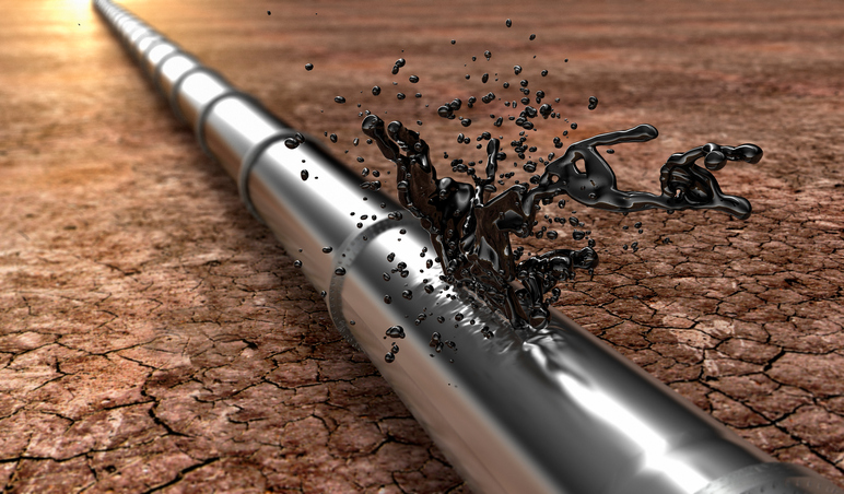 bursted oil-pipe with oil leaking out, 3d illustration